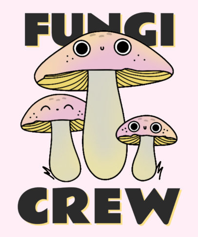 T-Shirt Design Maker for a Social Club with an Adorable Mushroom Mascot 4122a