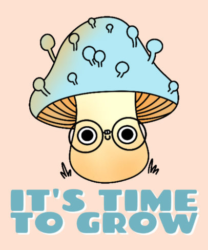 Cute T-Shirt Design Creator Featuring a Mushroom Wearing Glasses 4122f