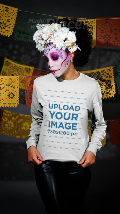Long Sleeve Tee Video Featuring a Woman Wearing Dia de Muertos Makeup 4111v