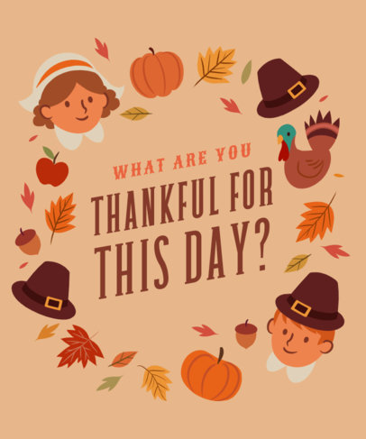 Quote T-Shirt Design Generator With Thanksgiving Illustrations 4123D