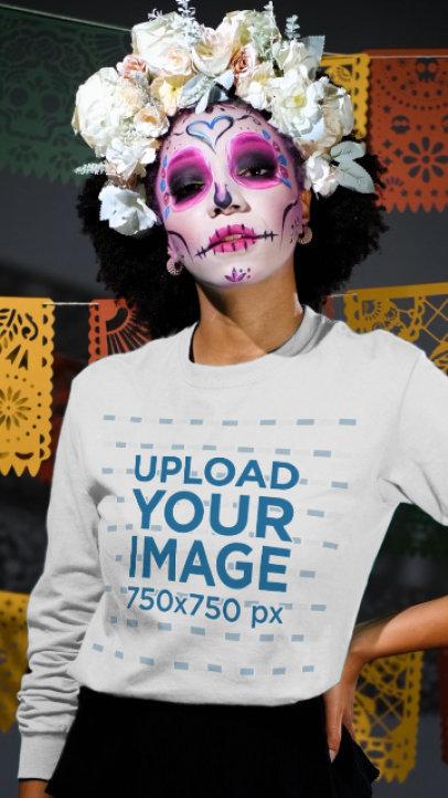 Long Sleeve Tee Video of a Woman Celebrating Dia de Muertos with Catrina Makeup 4109v