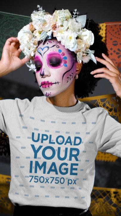 Long Sleeve Tee Video of a Woman Celebrating Dia de Muertos 4107v