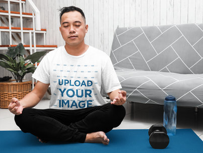 T-Shirt Mockup of a Man Meditating After Working Out at Home m14999-r-el2