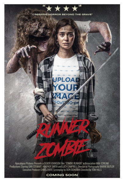 T-Shirt Mockup of a Woman with a Zombie in a Horror Movie Poster Style m15887