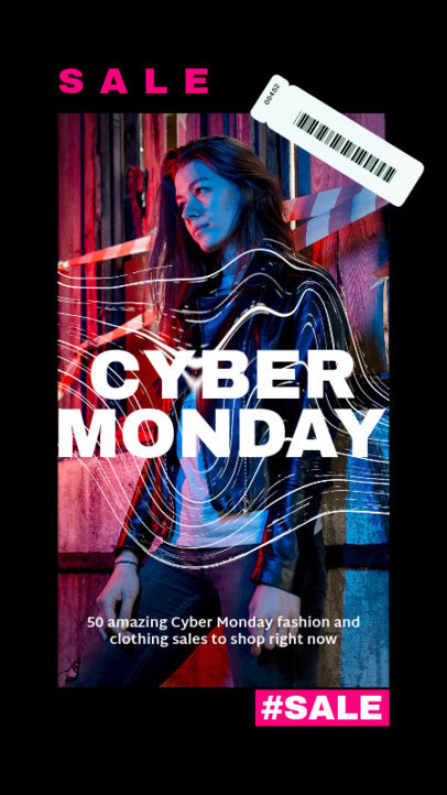Cool Instagram Story Design Template for a Cyber Monday Fashion Sale 4145