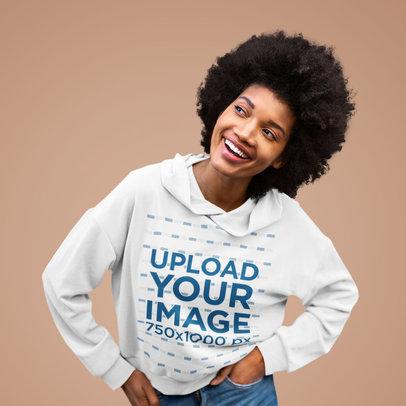 Mockup of a Joyful Woman Wearing a Pullover Hoodie m16901-r-el2