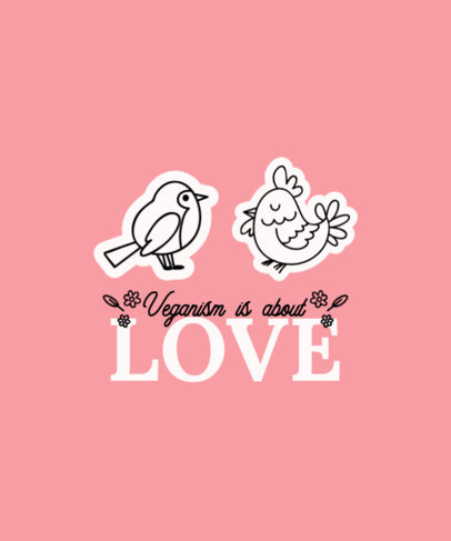 T-Shirt Design Template Featuring Animal Doodles and Vegan Quotes 4479a-el1