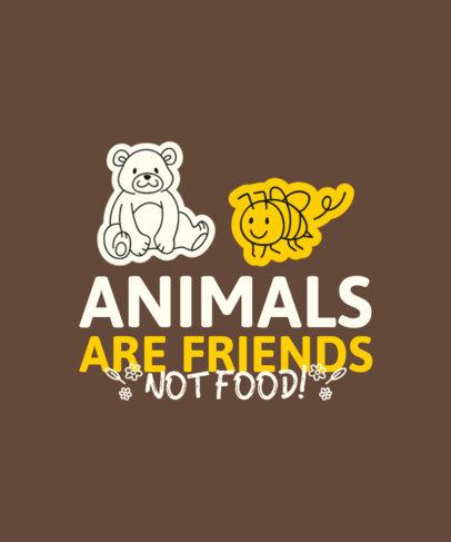T-Shirt Design Generator Featuring Vegan Quotes and Animal Doodles 4479f-el1