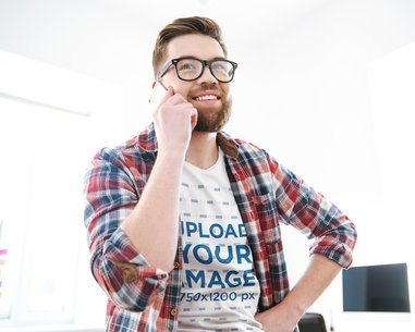 V-Neck Tee Mockup of a Man With Glasses on the Phone 40130-r-el2