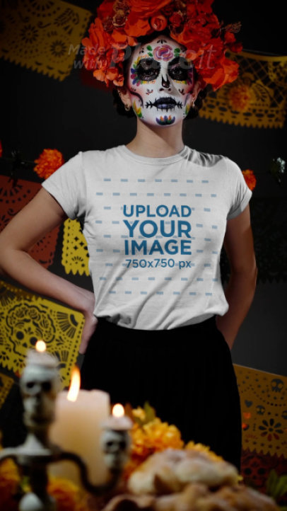 T-Shirt Video of a Woman Wearing Festive Makeup for the Day of the Dead 4150v