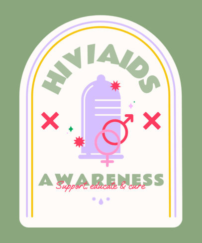 Illustrated T-Shirt Design Creator for an AIDS Awareness Campaign 4151b