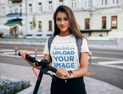 Transparent T-Shirt Mockup Featuring a Long-Haired Young Woman With a Scooter 40717-r-el2
