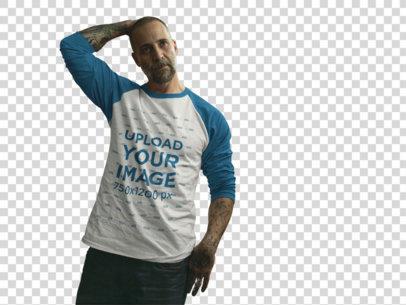 Transparent Tattooed Man Wearing a Raglan T-Shirt Mockup Walking Through a Parking Lot b12606