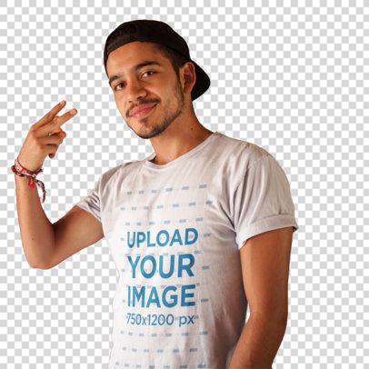 Transparent Young Dude Doing a Peace Sign While Wearing a Round Neck Tee Mockup a16023