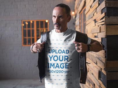 Transparent T-Shirt Mockup of a Biker Putting on his Leather Vest 20250