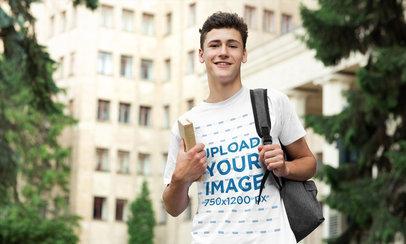 Transparent T-Shirt Mockup of a Young Man at a University Campus 39193-r-el2