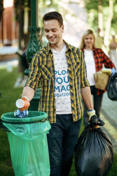 V-Neck Tee Mockup Featuring a Joyful Man Carrying a Garbage Bag m14084-r-el2