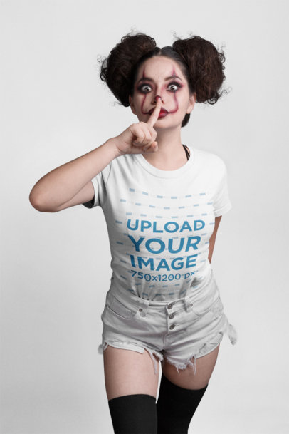 Transparent Mockup Featuring a Woman With Messy Buns and Halloween Makeup Wearing a T-Shirt 22916