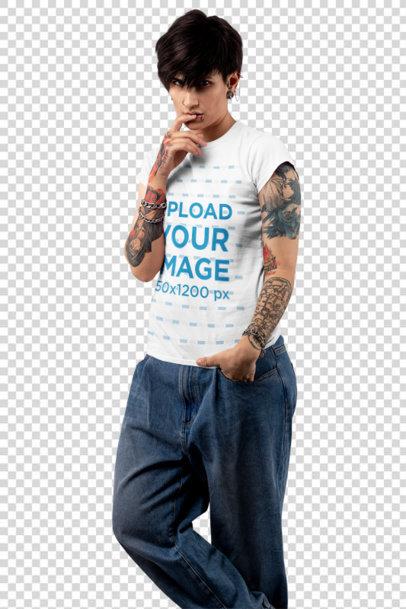Transparent T-Shirt Mockup of an Androgynous Woman at a Studio 32923