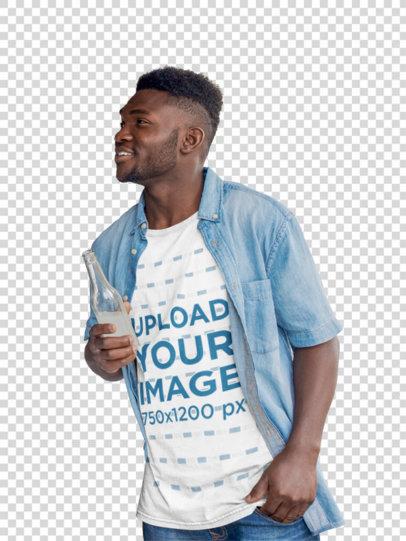 Transparent T-Shirt Mockup Featuring a Man Ordering at a Food Truck 44454-r-el2