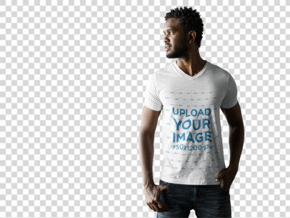 Transparent T-Shirt Mockup Featuring a Male Model in a Photoshoot a9835