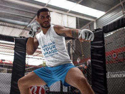MMA Fighter in Irish Stance with Custom Sportswear Mockup a17032
