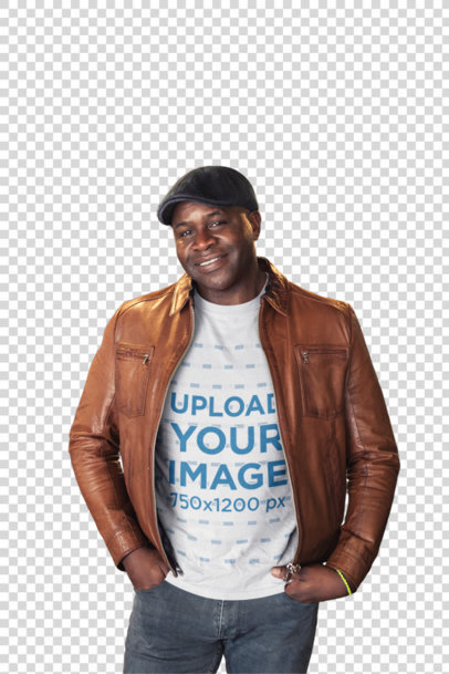 Transparent T-Shirt Mockup of a Black Man with a Leather Jacket and a Beret a21417