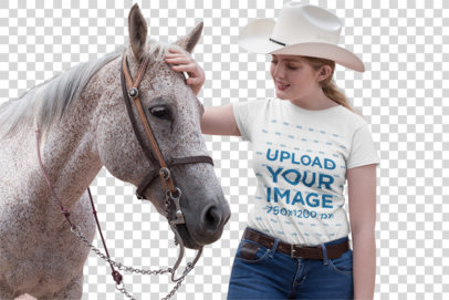 Transparent T-Shirt Mockup Featuring a Country Girl Petting a Horse 27969