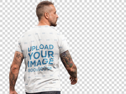 Transparent Back Shot Mockup of a Middle-Aged Man Wearing a Sublimated Tee at a Construction Site a9370b