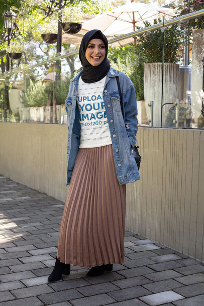 Transparent T-Shirt Mockup of a Woman with a Hijab on the Street 32421