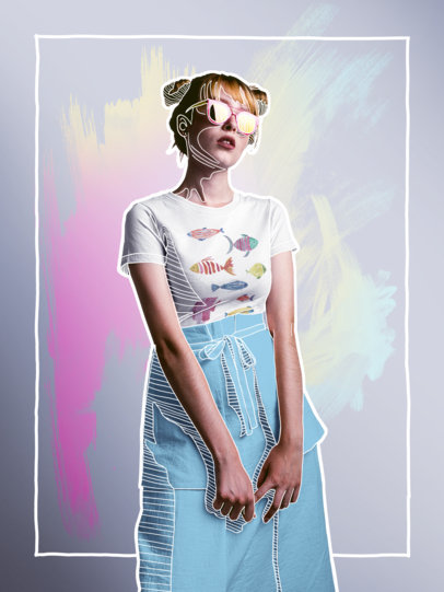 Transparent Blonde Girl Wearing a Fashion Round Neck T-Shirt Mockup and Yellow Sunglasses a16184