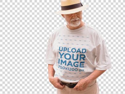 Transparent T-Shirt Mockup of a Stylish Elder Man in the Street d12392