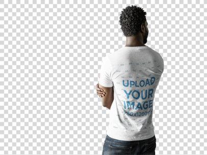 Transparent Back of a Black Man Wearing a Tshirt Mockup a9835b