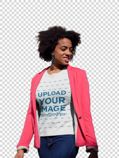 Transparent Mockup of a Woman Wearing a T-Shirt and a Sweet Pink Blazer Outside a House 18201