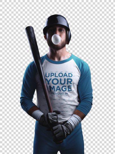 Transparent Baseball Uniform Designer - Man with Bubblegum and Baseball Uniform Builder Standing Against a Black Background a15985