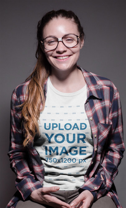 Transparent Smiling Geek Woman Wearing a Round Neck Tee Mockup and Glasses a19265