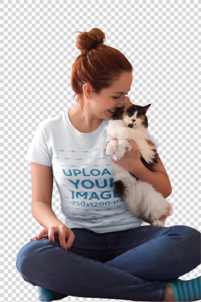 Transparent Red-Head Woman Wearing a T-Shirt Mockup while Holding her Cat a18994