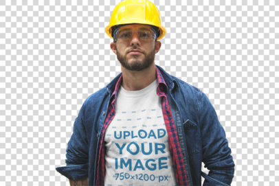 Transparent Serious Bearded Warehouse Worker Wearing a T-Shirt Mockup a20377