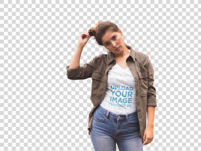 Transparent V-Neck TShirt Mockup of a Trendy Girl with a Jacket a11854