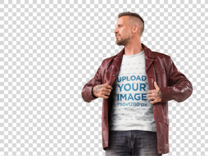 Transparent Alternative White Man Wearing a T-Shirt With a Jacket Mockup a9347