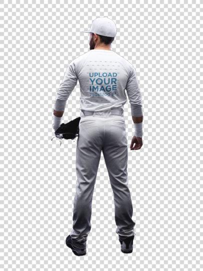 Transparent Baseball Uniform Designer - Full Body Back of a Man a15991