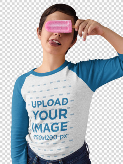 Transparent Girl Covering her Eyes with a Popsicle Wearing a Raglan Tee Mockup a17527