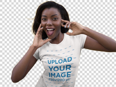 Transparent Mockup of a Smiling Young Woman Wearing a Round Neck Tee While Standing Against a Yellow Wall 16057