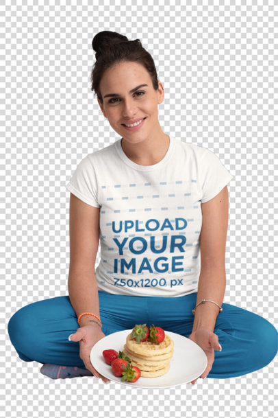 Transparent Crew Neck Tee Mockup of a Woman Having Pancakes in Bed m788