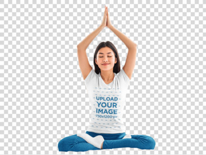 Transparent T-Shirt Mockup of a Woman Doing Yoga on Her Bed 43625-r-el2