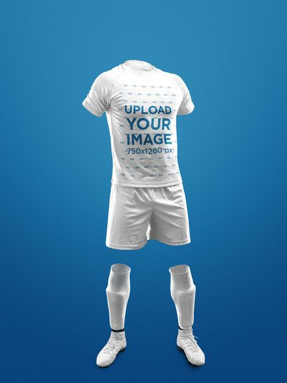 Custom Soccer Jerseys - Invisible Model Standing Against a Solid Background a17270