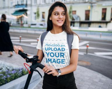 Transparent Crewneck Tee Mockup of a Young Woman Riding a Scooter 41394-r-el2