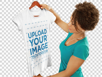 Transparent T-Shirt Mockup of a Young Woman Shopping at a Boutique 6567a