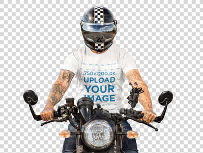 Transparent T-Shirt Mockup of a Tattooed Man Riding His Motorcycle 31788