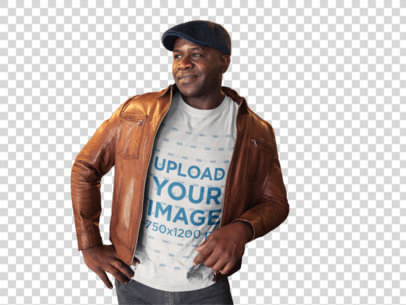 Transparent Mockup of a Black Man Wearing a T-Shirt with a Brown Leather Jacket and a Beret a21418